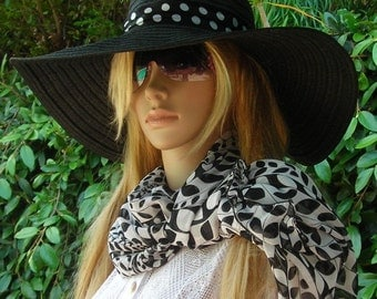 Long Scarf - lightweight Scarf - Scarf Silky Chiffon - extra long - black - White - Perfect any season black and white are in