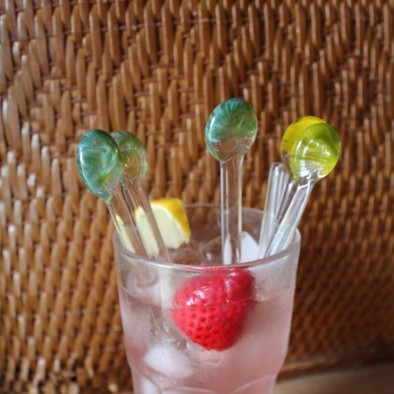 Drink Stir Sticks Pyrex Glass Swizzle Sticks Multiple color tropical promotional sale functional art