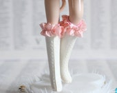 Mab Couture Boots - Cupcake Pink and White-  Vintage Blythe size dolly shoes - for your little princess