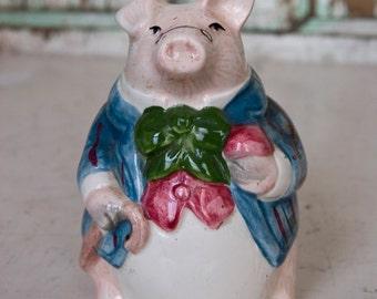Vintage Gentleman Pig Salt Shaker, Vintgae Kitchen, Vintage Figurine