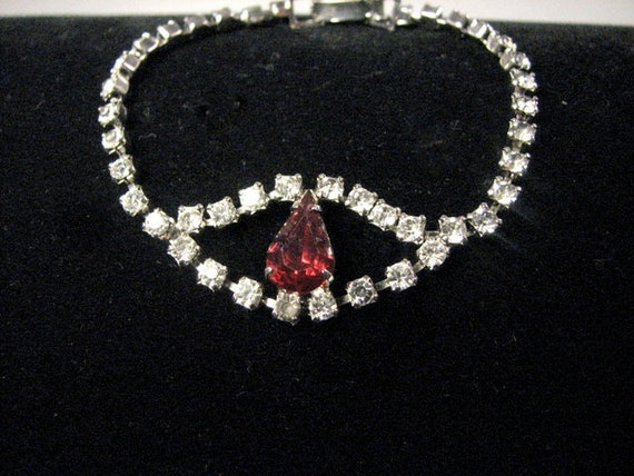 Rhinestone Bracelet with Ruby Red Tear Drop Shaped Stone in the Middle