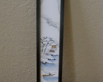 Original Signed Japanese 3 Hand Painted Framed Tiles Patent issed 2/28/1893