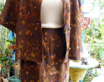 Max Mara Linen Floral Embroidered Brown Vintage Suit, Italian, Professional, Preppy, 2 pc, golds, purples,  brick