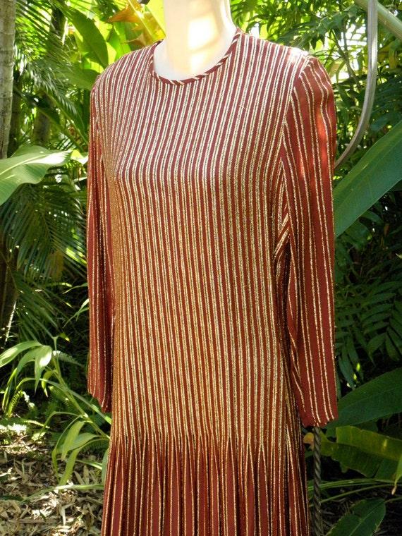 Vintage Gold Brocade Bronze/Rust Dress, 1980's, Long Sleeve, Verticlal Gold Stripes, Gown, Cruise, Hostess, sz 6