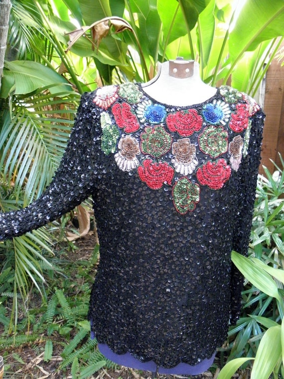 Black Sequined Flowered Vintage Top,L/S, Bright Sequin Flowers, 1980's, Festive, Holiday,  sz M-L