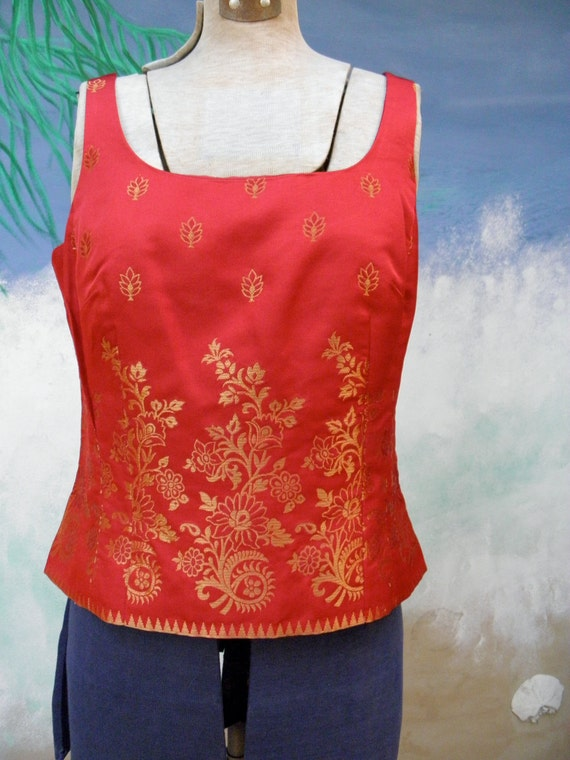Ann Taylor, Red Silk Gold Embroidered Vintage Bustier, Corset, 1990's, Sexy, Festive, Holiday, Party. sz 6P