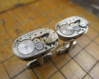 Vintage Elgin Watch Movement Cufflinks. Great for Fathers Day, Anniversary, Groomsmen or Just Because.  #181