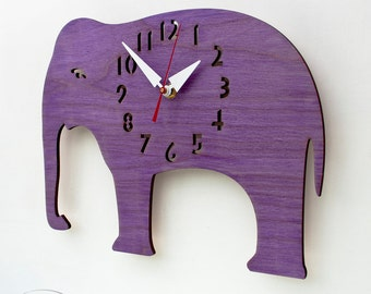 "The ""Great Grape Elephant"" designer wall mounted clock from LeLuni"