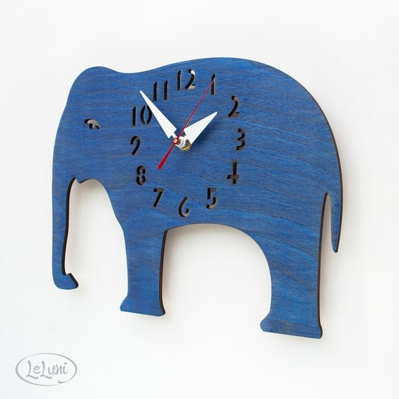"""The """"Big Blue Elephant"""" Kid's wall mounted clock from LeLuni"""