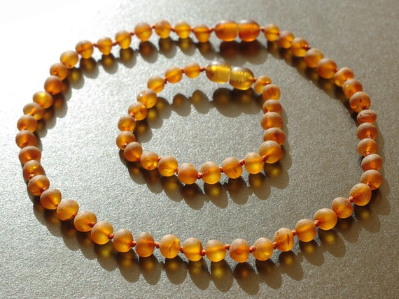 Set of unpolished cognac baltic amber baby teething necklace and bracelet or anklet 536