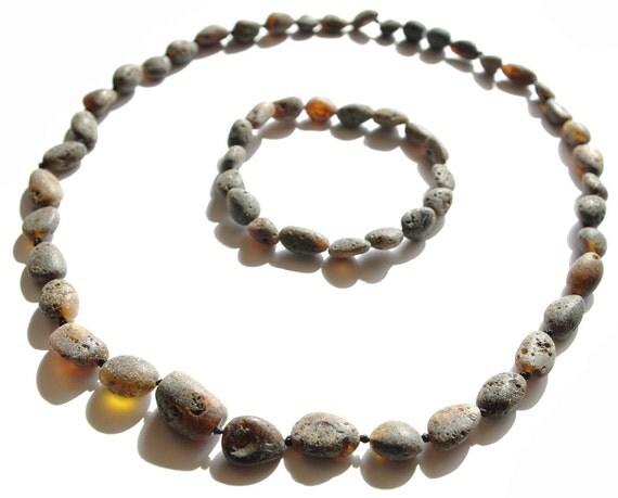 Raw Unpolished Black Baltic Amber Necklace and Matching Bracelet. Unisex 533