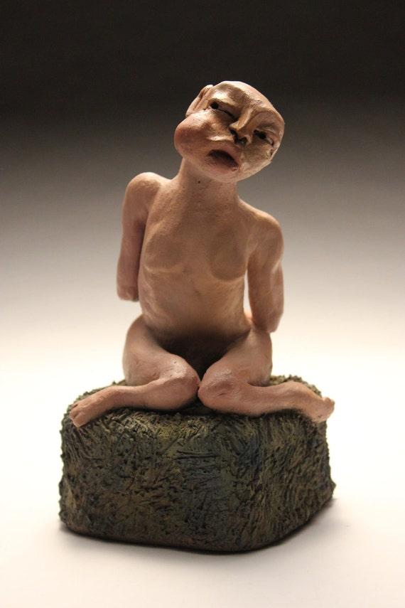 Avon, Bubble Mouth Boy ***Clearance Sale*** figure, male, nude, man, circus, sculpture, ceramic, clay, oil paint, hand built