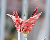 Red Cherry Blossoms Origami Crane Ornament