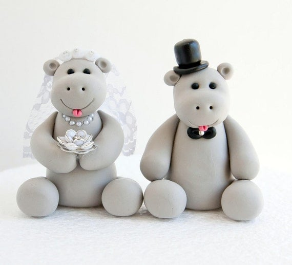 Hippo Wedding Cake Topper