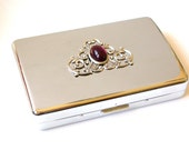 Victorian Silver Cigarette Case - Vintage Style Smoking Accessories - Amethyst Glass Stone on Silver  - Victorian Money Credit Card Case
