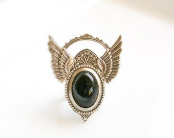 Silver Wings Gothic Ring -Black Onyx Ring - Wings Jewelry - Gothic jewelry