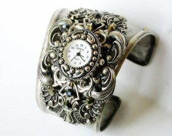 Women's Cuff Watch Cuff Bracelet Watch Victorian Wrist Watch for Women Steampunk Gothic Wrist Watch Gothic Cuff Watches