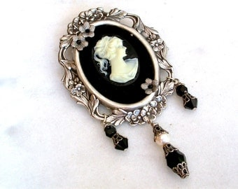 Victorian Cameo Brooch / Pendant on Black Velvet with Silver Floral Frame - Victorian Jewelry