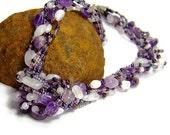 Purple Gemstone Necklace, Amethyst and Moonstone Gemstone Chakra Necklace