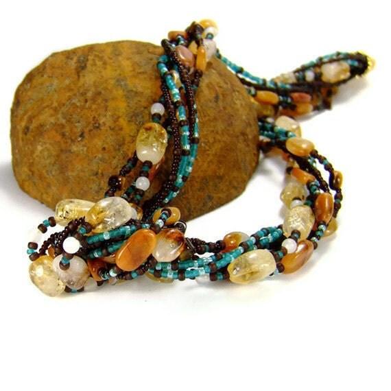 Multistrand Gemstone Necklace, Citrine and Red Aventurine Gemstone Chakra Necklace