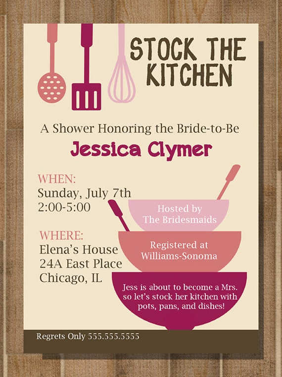Items similar to printable bridal shower invitation for Bridal kitchen shower ideas