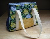 Quilted Blue and Yellow Purse Handbag