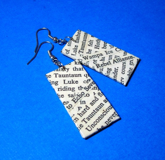 Star Wars Earrings. Empire Strikes Back. Upcycled Wordsmith Text Collage. Wood Base. Nickel Free. Luke on Hoth.