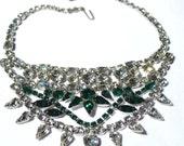 Huge Rhinestone Bib Necklace Emerald