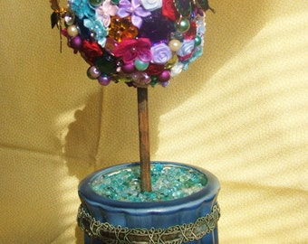 Flower and Jeweled Topiary w/Enamel Butterflies