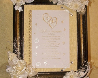 Heirloom Wedding Gift, Decorated Frame w/secured Card