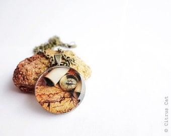 Vintage World Map - travel necklace. Brown necklace, vintage necklace, map necklace, travel jewelry, adventure, journey necklace