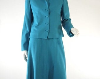 70s Teal Blue Skirt Suit - sm, med