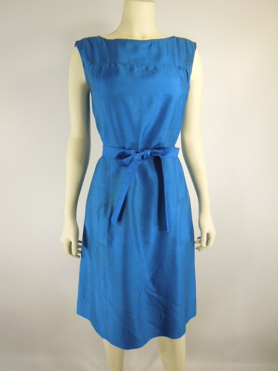 60s Belted Shift Dress in Royal Blue Silk by Sir James - sm, med TREASURY ITEM