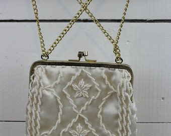 Beaded Cream Purse Clutch Wedding EVENING BAG Mother of Bride Little Girls Crossbody Church Purse