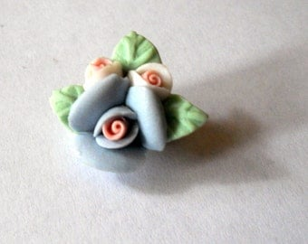 Vintage Bisque China Little Rose Bouquet Brooch Pink Purple Pin