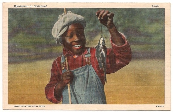 "Ca. 1940's""Sportsman in Dixieland"" Black Memorabilia Linen Postcard - 51"