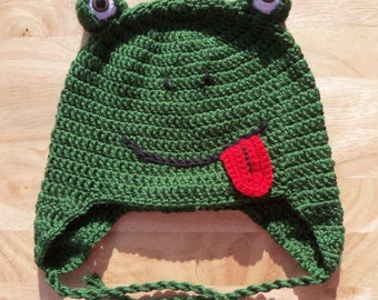 Crochet Hat, Frog Earflap Hat, Made to Order