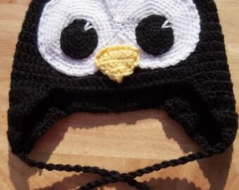 Crochet Hat, Penguin Earflap Hat, Made to Order