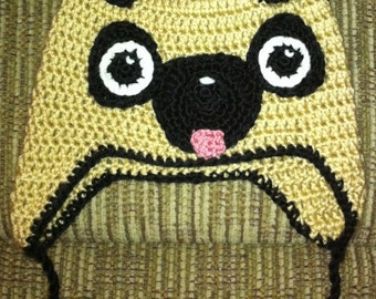 Crochet Hat, Pug Earflap Hat, Made to Order
