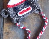 Childrens Sock Monkey Dark Brown and Red Earflap Crochet Hat