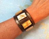 Leather Cuff Bracelet Mother of Pearl, Gold Bracelet