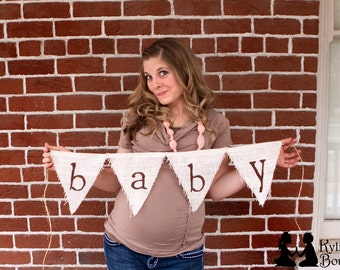 BABY Suprise Boy or Girl Burlap Banner - Baby Shower, Maternity Prop, Newborn Prop