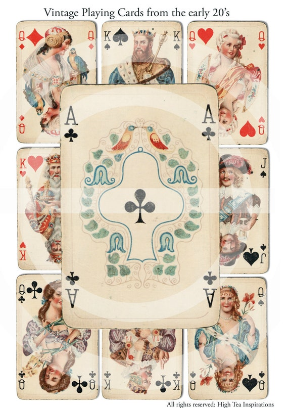 VINTAGE PLAYING CARDS  - Digital Collage Sheet - Printable Download - Scrapbooking - Images