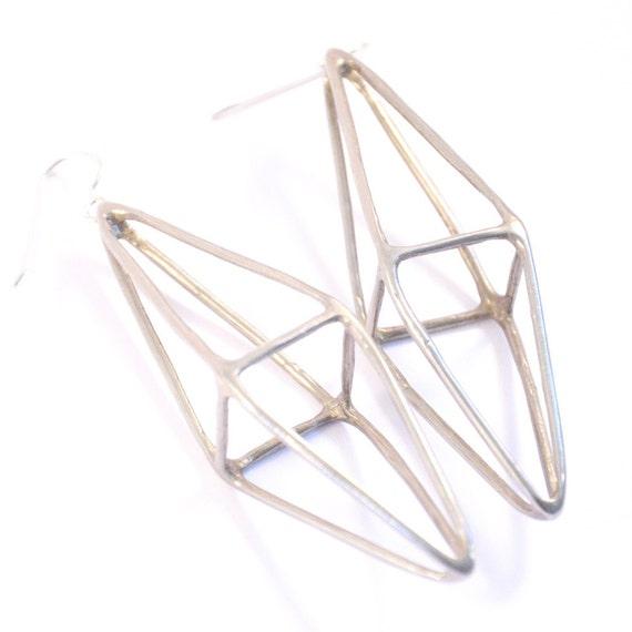octahedron earrings- white brass