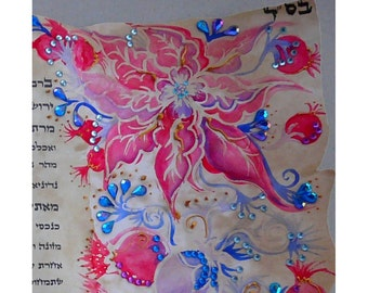 Ketubah-hand painted ketubah on parchment paper- Jerusalem in pink