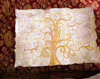 oath of love - hebrew and french version in the way of Klimt tree of life
