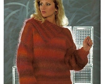 Two Knit Sweaters Leisure Arts Fashion Leaflet 1329 Using Nomotta Nanoro Yarn