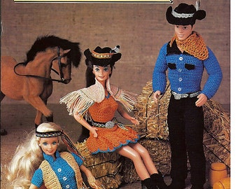 Fashion Doll Western Wear Crochet Barbie Pattern  Annies Attic 87D78