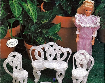 Fashion Doll Garden Furniture Annies Original Plastic Canvas Pattern 245K