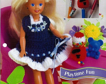 "Playtime Fun Jumper for 7 1/2"" fashion Doll Crochet Pattern Annies Fashion Doll Crochet Club FCC13-02"